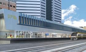 Maketa mostra o comboio da Union Pearson Expresss, o comboio da Union Pearson Expresss, na Union Station em Toronto.