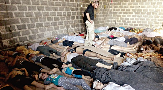Oposição afirma que os bombardeamentos terão causado a grande mortandade, sobretudo entre jovens e crianças