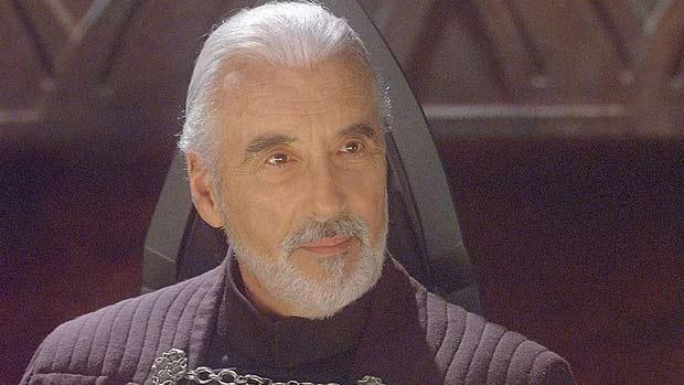 "Retrato de Christopher Lee no papel do Conde Dooku em a Guerra das Estrelas: Episódio II - O Ataque dos Clones"" (2002)"