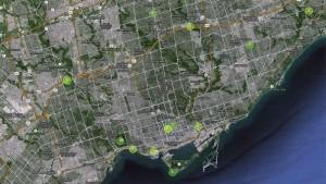 O mapa AirSensors mostra o índice de saúde da qualidade do ar em locais dos Pam Am em toda a área da Grande Toronto em 15 de julho de 2015